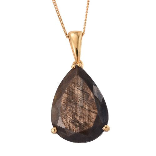 Natural Zawadi Golden Sheen Sapphire (Pear) Pendant With Chain in 14K Gold Overlay Sterling Silver 14.750 Ct.