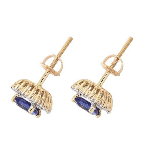 ILIANA 18K Yellow Gold AAA Tanzanite (Cush), Diamond (SI/G-H) Stud Earrings (with Screw Back) 1.500 Ct.