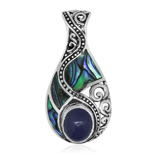 Royal Bali Collection Abalone Shell and Purple Jade Drop Pendant in Sterling Silver 7.302 Ct.