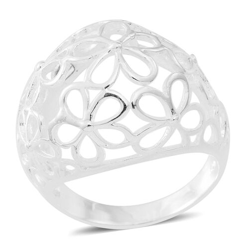 Vicenza Collection- Designer Inspired Sterling Silver Floral Ring, Silver wt 5.21 Gms.