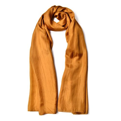 100% Mulberry Silk Golden Brown Colour Scarf (Size 180X100 Cm)