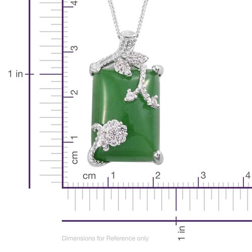Green Jade (Bgt), Natural Cambodian Zircon Pendant With Chain  in Platinum Overlay Sterling Silver 16.750 Ct.