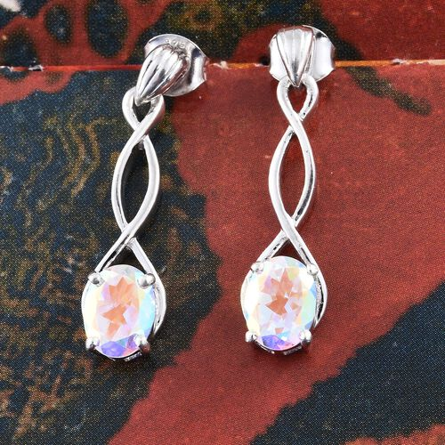 Mercury Mystic Topaz (Ovl) Earrings (with Push Back) in Platinum Overlay Sterling Silver 2.750 Ct.