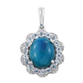 Natural Rare Opalina (Ovl 3.75 Ct), Sky Blue Topaz and Natural Cambodian Zircon Pendant in Platinum Overlay Sterling Silver 5.000 Ct.