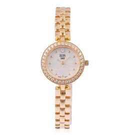Designer Inspired - EON 1962 Swiss Movement Gold Overlay Sterling Silver Crystal Studded Watch with MOP Dial, Sapphire Glass and 3ATM Water Resistant, Silver wt. 20.00 Gms.
