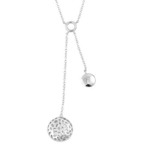 RACHEL GALLEY Rhodium Plated Sterling Silver Memento Disc Necklace (Size 18), Silver wt 6.85 Gms.
