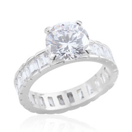 Simulated Diamond (Rnd) Ring in Silver Bond