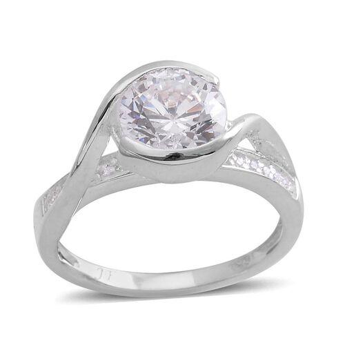 J Francis - Sterling Silver (Rnd) Ring Made with SWAROVSKI ZIRCONIA 2.176 Ct.