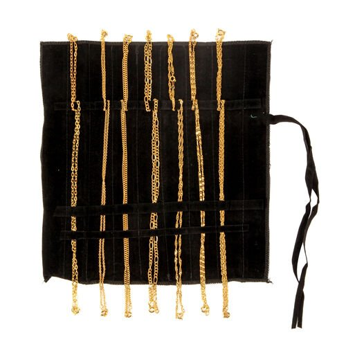 Set of 14 Complete Wardrobe 18K Gold Plated Set of 7 Chain (Size 20) and Set of 7 Bracelet (Size 7.5) with Black Velvet Pouch