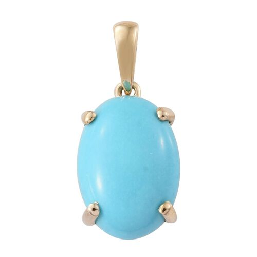 9K Y Gold AAA Arizona Sleeping Beauty Turquoise (Ovl) Solitaire Pendant 5.000 Ct.