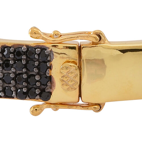 Boi Ploi Black Spinel (Rnd), White Topaz Buckle Bangle (Size 7.5) in 14K Gold Overlay Sterling Silver 5.000 Ct. Silver wt 16.50 Gms.