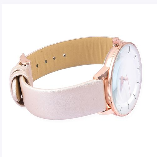 STRADA Japanese Movement White Dial Water Resistant Watch in Rose Gold Tone with Pink Gold Colour Strap