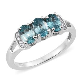 Blue Zircon, Natural Cambodian Zircon Ring in Platinum Plated Silver 2 Carat