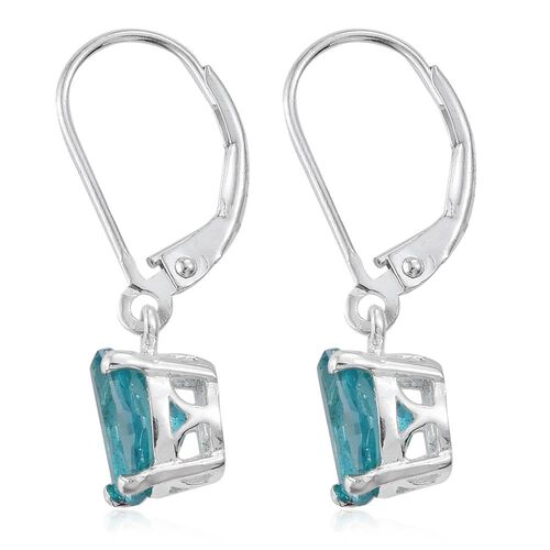 Paraiba Topaz (Ovl) Lever Back Earrings in Sterling Silver 3.000 Ct.