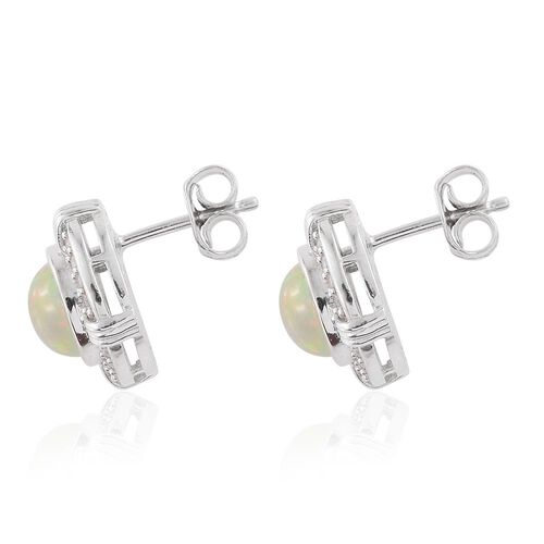 Ethiopian Welo Opal (Rnd), Natural Cambodian Zircon Stud Earrings (with Push Back) in Platinum Overlay Sterling Silver 2.250 Ct.