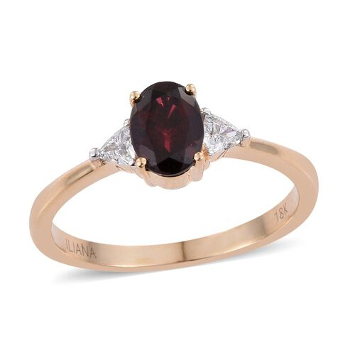 ILIANA 18K Y Gold Top Noble Red Spinel (Ovl 2.10 Ct), Diamond Ring 2.300 Ct.
