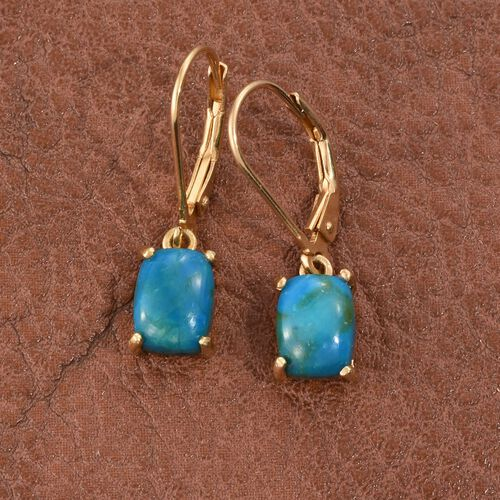 Natural Rare Opalina (Cush) Lever Back Earrings in 14K Gold Overlay Sterling Silver 2.500 Ct.