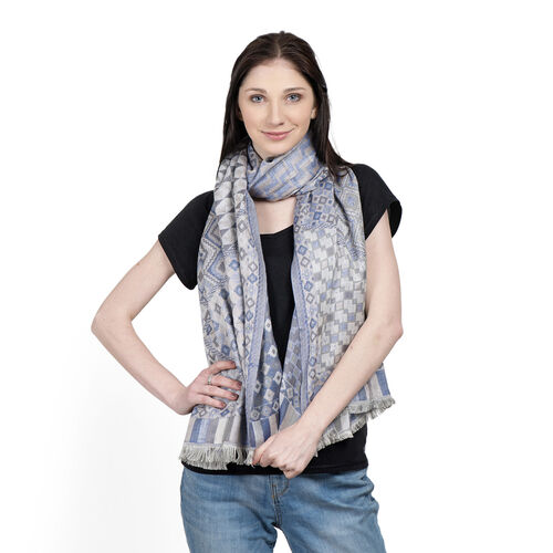 Blue, Grey and Multi Colour Geomatric Pattern Scarf with Fringes (Size 180x65 Cm)