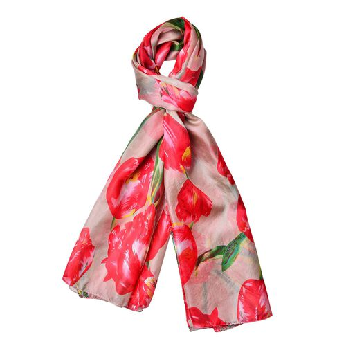 100% Mulberry Silk Red, Green and Multi Colour Floral Pattern Scarf (Size 180X110 Cm)