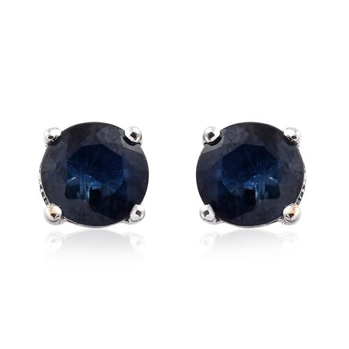 9K White Gold 0.60 Carat AAA Kanchanaburi Blue Sapphire (Rnd) Stud Earrings (with Push Back)