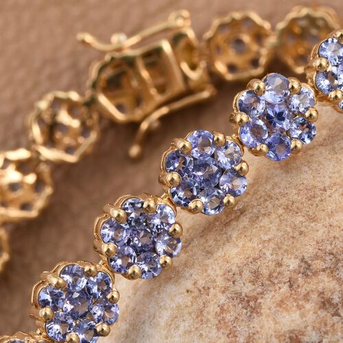 AA Tanzanite (Rnd) Bracelet (Size 7.5) in 14K Gold Overlay Sterling Silver 11.400 Ct.