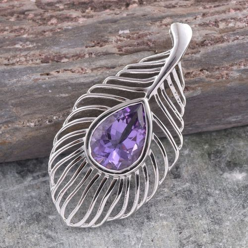 AA Lusaka Amethyst (Pear) Feather Pendant in Platinum Overlay Sterling Silver 4.500 Ct.