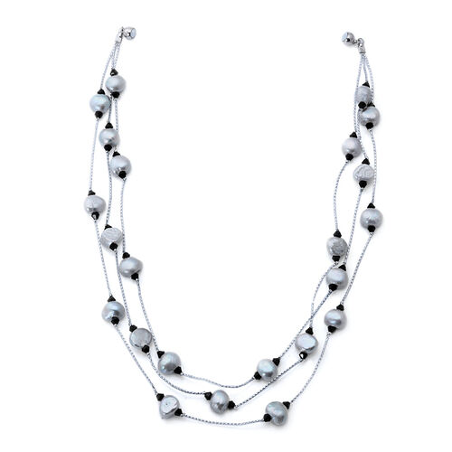 Fresh Water Silver Grey Dyed Pearl and Black Glass 3 Strand Necklace (Size 18) in Silver Tone