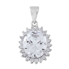 ELANZA AAA Simulated White Diamond (Ovl) Pendant in Rhodium Plated Sterling Silver, Silver wt 3.47 Gms.