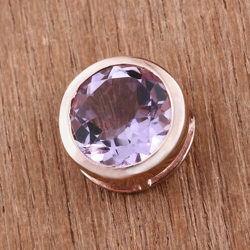 Rose De France Amethyst (Rnd) Solitaire Pendant in Rose Gold Overlay Sterling Silver 2.500 Ct.