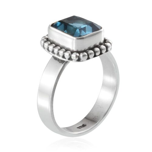 London Blue Topaz (Oct) Solitaire Ring in Sterling Silver 2.780 Ct.