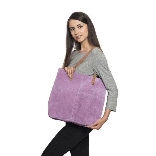 100% Genuine Leather RFID Blocker Lilac Purple Extra Large Tote Handbag (Size 40X36X10 Cm)