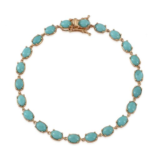 Sonoran Turquoise (Ovl) Bracelet (Size 8) in 14K Gold Overlay Sterling Silver 9.500 Ct.