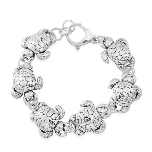 Designer Inspired - Vicenza Collection Sterling Silver Turtle Bracelet (Size 7.5), Silver wt. 20.31 Gms.