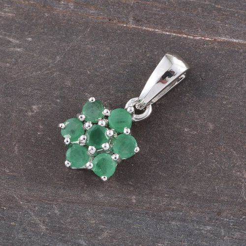 Zambian Emerald 0.75 Ct Silver 7 Stone Floral Pendant in Platinum Overlay