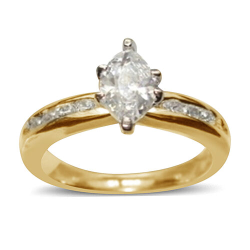 AAA Simulated Diamond (Mrq) Ring in 14K Gold Overlay Sterling Silver