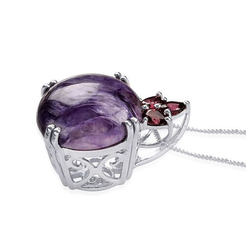 Russian Charoite (Rnd 8.75 Ct), Rhodolite Garnet Pendant With Chain in Platinum Overlay Sterling Silver 9.250 Ct.