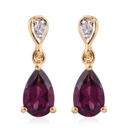 2 Ct Purple Garnet, Natural Cambodian Zircon Silver Earrings (with Push Back) in Yellow Gold Overlay