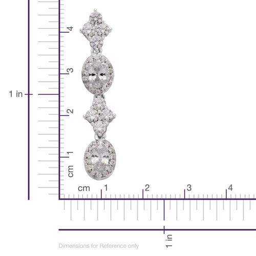 J Francis - Platinum Overlay Sterling Silver (Ovl) Drop Earrings Made with SWAROVSKI ZIRCONIA 4.208 Ct.