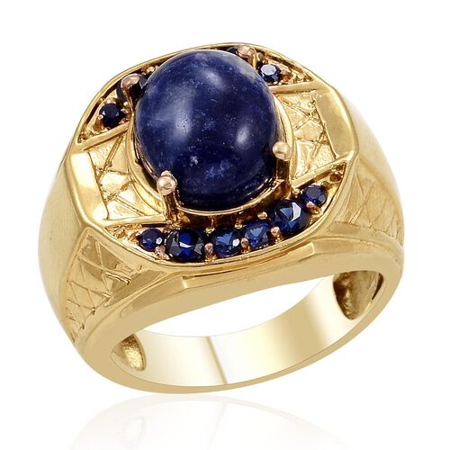 Designer Collection Sodalite (Ovl 2.00 Ct), Simulated Blue Sapphire Ring in ION Plated 18K YG Bond 2.725 Ct.