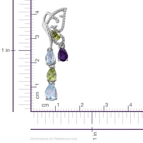 GP Sky Blue Topaz (Pear), Amethyst, Hebei Peridot and Kanchanaburi Blue Sapphire Earrings (with Push Back) in Platinum Overlay Sterling Silver 4.500 Ct.