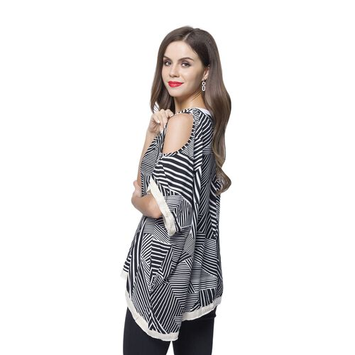 Black and White Colour Stripes Pattern Poncho (Size 135X100 Cm)