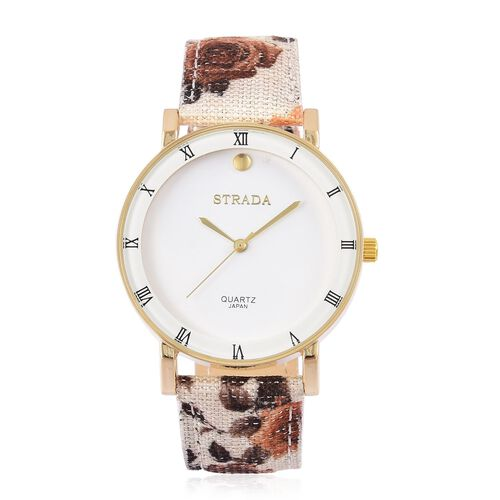 STRADA Japanese Movement Roman Numerals Watch in Gold Tone with Brown Colour Floral Strap and Stainless Steel Back