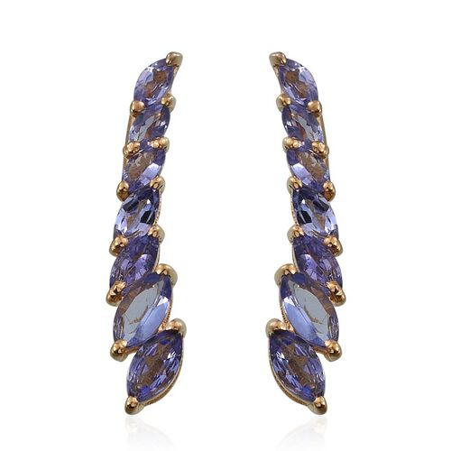 Tanzanite (Mrq) Climber Earrings in 14K Gold Overlay Sterling Silver 2.000 Ct.