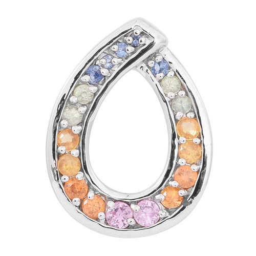 Rainbow Sapphire (Rnd) Pendant in Rhodium Plated Sterling Silver 1.500 Ct.