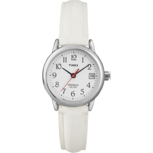 Timex Ladies Basic Round White Dial Watch With White Strap