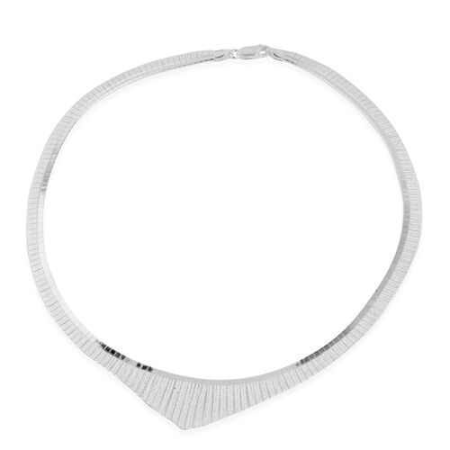 Vicenza Collection- Designer Inspired Rhodium Plated Sterling Silver Cleopatra Necklace (Size 17), Silver wt 26.63 Gms.