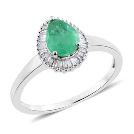 Kagem Zambian Emerald (Pear 1.05 Ct), Diamond Ring in Platinum Overlay Sterling Silver 1.250 Ct.