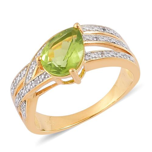 AA Hebei Peridot (Pear 1.75 Ct), White Topaz Ring in Yellow Gold Overlay Sterling Silver 1.800 Ct.