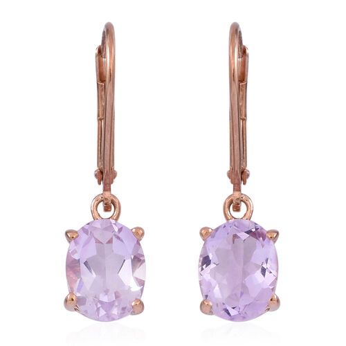 Rose De France Amethyst (Ovl) Lever Back Earrings in Rose Gold Overlay Sterling Silver 3.000 Ct.