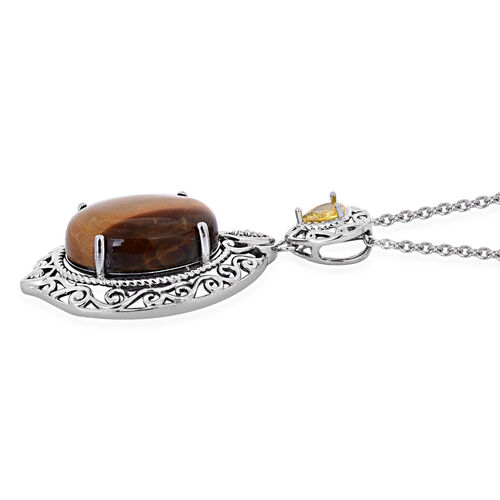 Tigers Eye (Ovl 13.00 Ct), Simulated Citrine Pendant in ION Plated Silver Bond with Stainless Steel Chain 13.850 Ct.